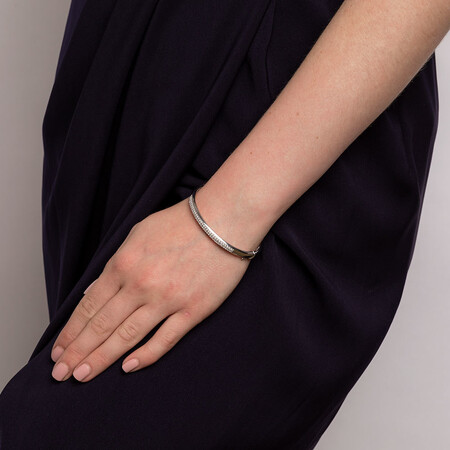 Hinged Bangle with 1 Carat TW of Diamonds in 10ct White Gold