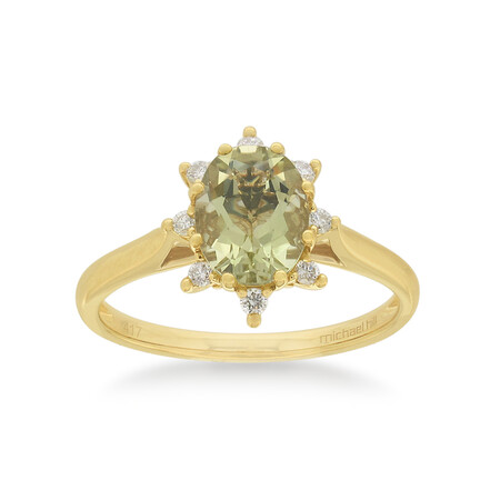 Ring with Quartz & Diamond in 10ct Yellow Gold