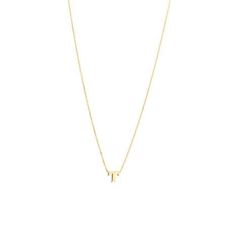 """""""T"""" Initial Necklace in 10ct Yellow Gold"""