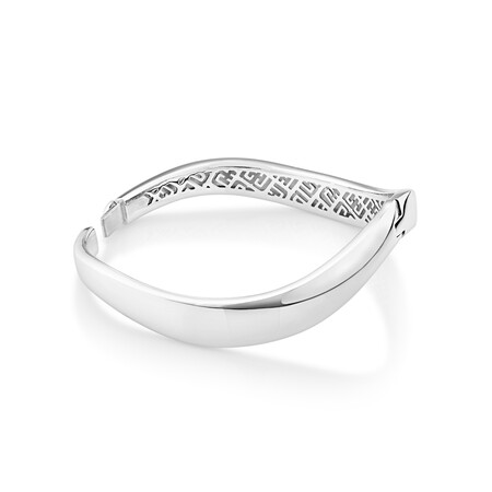 Sculpture Diamond Set Hinge Bangle in Sterling Silver