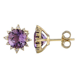 Earrings with Natural Amethyst & 0.13 Carat TW of Diamonds in 10ct Yellow Gold