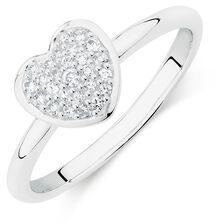 White Cubic Zirconia Heart Ring