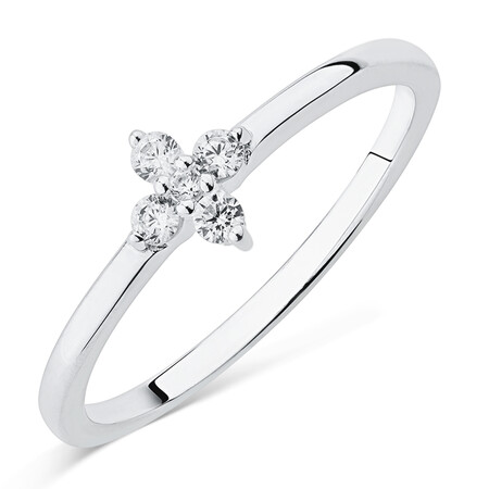 Flower Ring with Cubic Zirconia in Sterling Silver