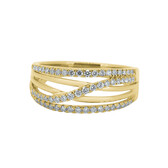 Crossover Ring with 0.39 Carat TW of Diamonds in 10ct Yellow Gold