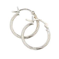 18mm Twist Hoop Earrings in Sterling Silver
