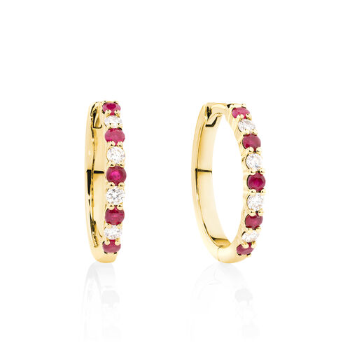 Huggie Earrings with Natural Ruby & 0.20 Carat TW of Diamonds in 10ct Yellow Gold