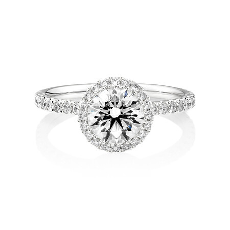 Sir Michael Hill Designer Halo Engagement Ring with 1.68 Carat TW of Diamonds in 18ct White Gold