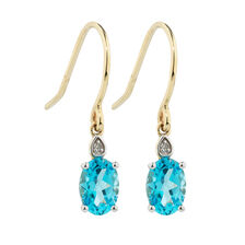 Online Exclusive - Earrings with Diamonds & Blue Topaz in 10ct Yellow & White Gold