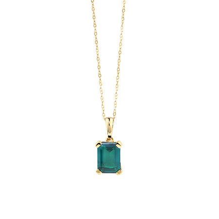 Pendant With Created Emerald In 10ct Yellow Gold
