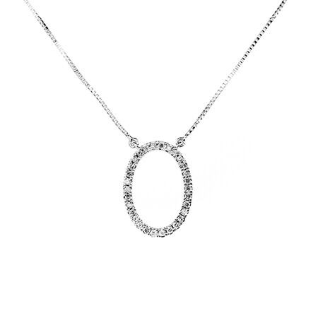 Diamond Oval Pendant in 10ct White Gold with Chain