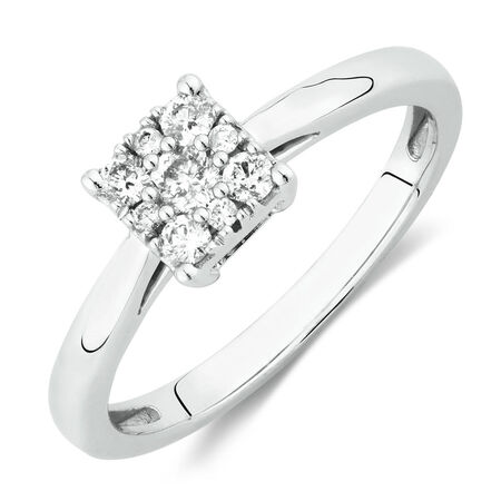 Promise Ring with 1/4 Carat TW of Diamonds in 10ct White Gold