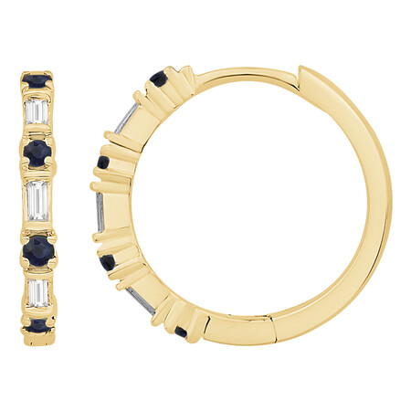 Huggie Earrings with Natural Sapphire & 0.12 Carat TW of Diamonds in 10ct Yellow Gold