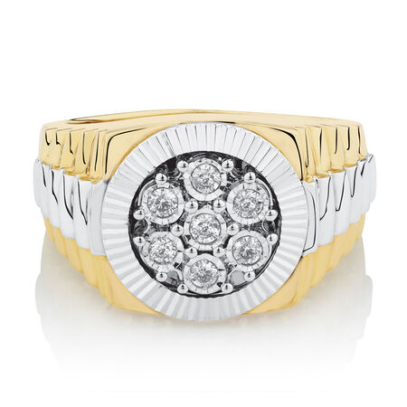 Men's Ring with 1/4 Carat TW of Diamonds in 10ct Yellow & White Gold