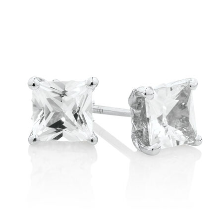 Square Stud Earrings with Created White Sapphire in Sterling Silver