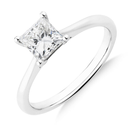 Evermore Certified Solitaire Ring With 1 Carat TW Diamond In 14ct White Gold