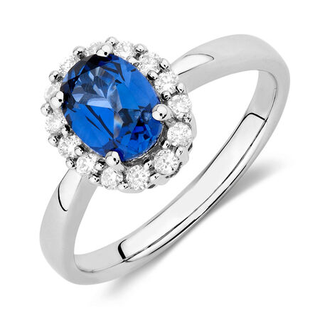 Ring with Created Sapphire & 1/4 Carat TW of Diamonds in 10ct White Gold