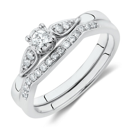 Bridal Set With 0.22 Carat TW of Diamonds In 10ct White Gold