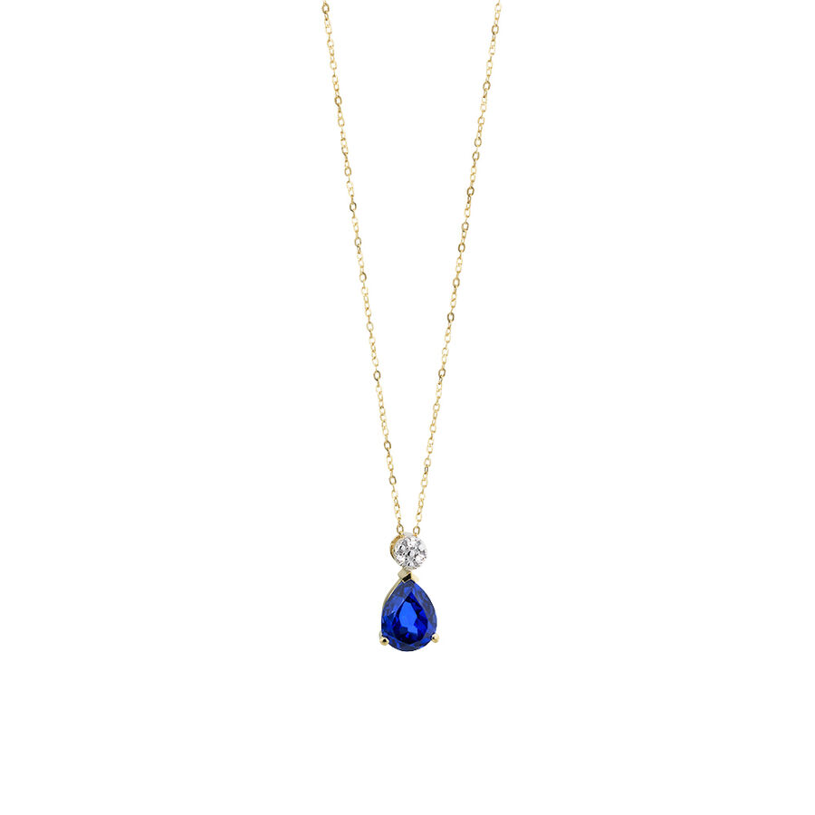 Pendant with Created Blue Sapphire & Diamonds in 10ct Yellow & Rose Gold