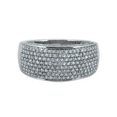 Dress Ring with Pave Set 1.00 Carat TW of Diamonds in 10ct White Gold