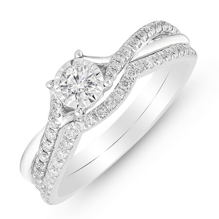 Twist Bridal Set with 1/2 Carat TW of Diamonds in 10ct White Gold