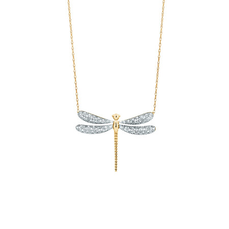 Dragonfly pendant with 0.20 Carat TW Diamonds in 10ct Yellow Gold