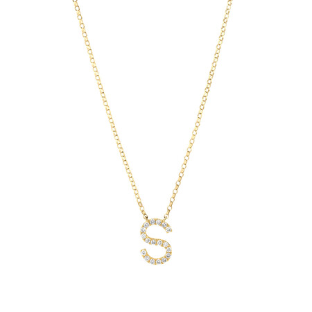 """""""S"""" Initial Necklace with 0.10 Carat TW of Diamonds in 10ct Yellow Gold"""