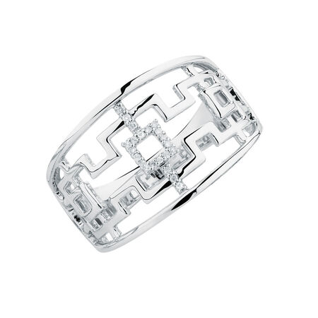 Geometric Ring with Diamonds in Sterling Silver