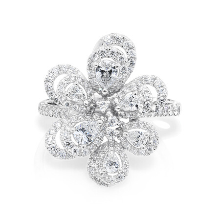 Flower Ring with 1 Carat TW of Diamonds in 10ct White Gold