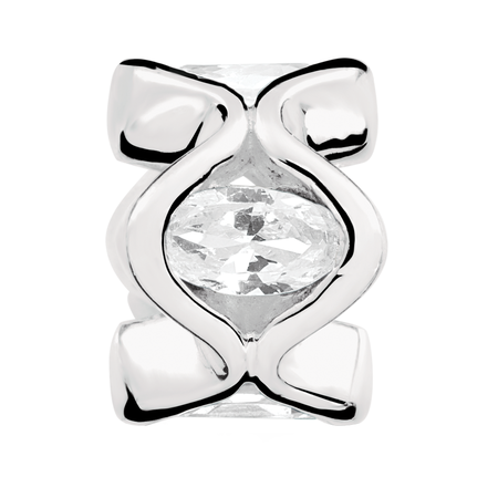 Cubic Zirconia & Sterling Silver Charm