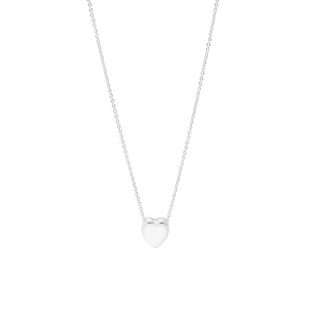 45cm Heart Necklace In Sterling Silver
