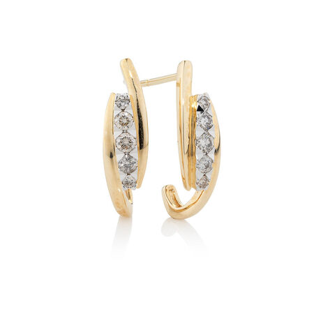 Online Exclusive - Hoop Earrings with 0.34 Carat TW of Diamonds in 10ct Yellow Gold