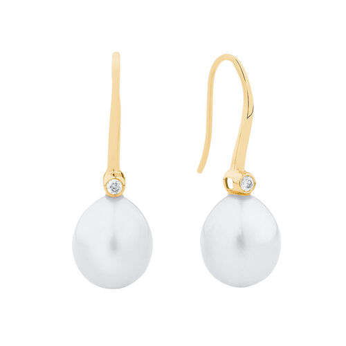 Drop Earrings with Cultured Freshwater Pearls & Diamonds in 10ct Yellow Gold