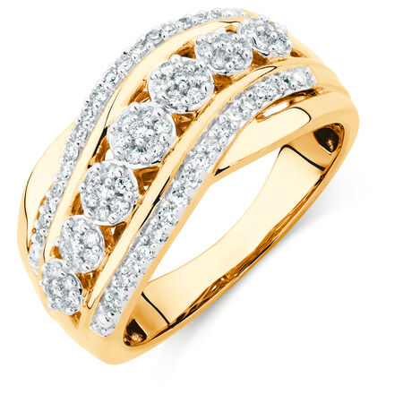 Ring with 0.33 Carat TW of Diamonds in 10ct Yellow Gold