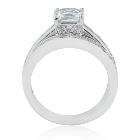 Bridal Set with Created White Sapphire in Sterling Silver
