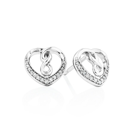 Heart infinitas Earring with 0.12 Carat TW of Diamonds in Sterling Silver