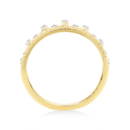 Crown Ring With Diamonds In 10ct Yellow Gold