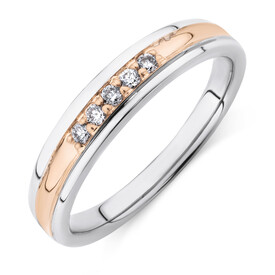 Ring with Diamonds in 10ct White & Rose Gold