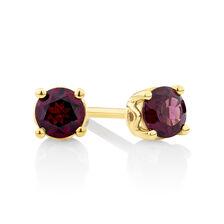 Stud Earrings with Rhodolite Garnet in 10ct Yellow Gold