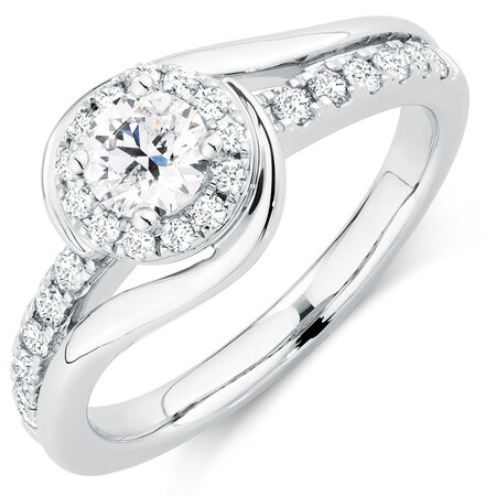 Diamond Ring with 0.80 Carat TW of Diamonds in 14ct White Gold
