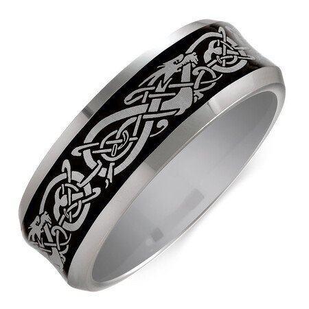 Men's Celtic Ring in Grey Tungsten
