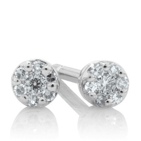 Stud Earrings with Diamonds in 10ct White Gold