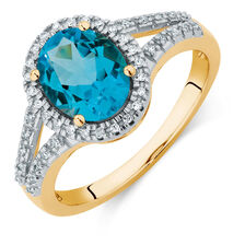 Online Exclusive - Ring with a Blue Topaz & Diamonds in 10ct Yellow Gold