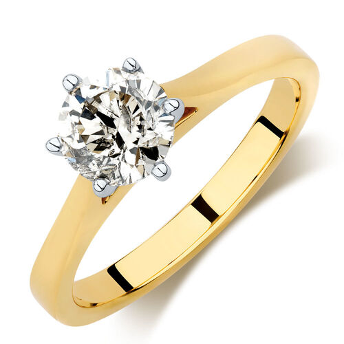 Solitaire Engagement Ring with 0.90 Carat Diamond in 14ct Yellow & White Gold