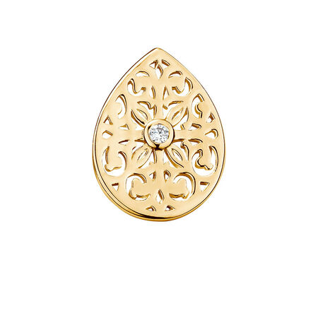 Filigree Mini Coin Locket Insert with Cubic Zirconia in 10ct Yellow Gold