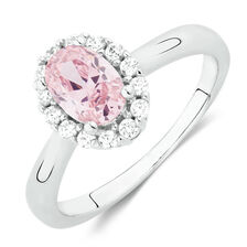Ring with Pink & White Cubic Zirconia in Sterling Silver