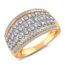 Five Row Ring with 1.00 Carat TW of Diamonds in 14ct Yellow Gold