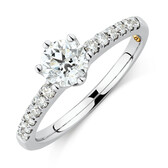 Whitefire Solitaire Engagement Ring With 0.88 Carat TW of Diamonds in 18ct White & 22ct Yellow Gold