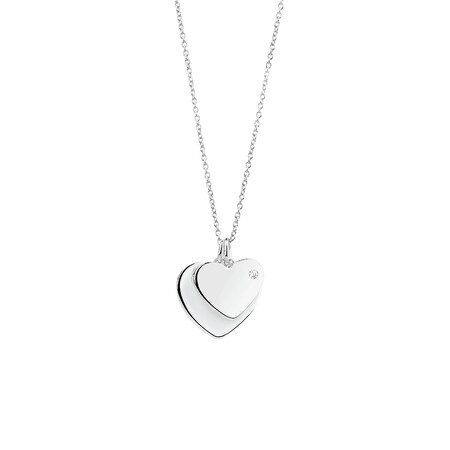 Heart Pendant with Cubic Zirconia in Sterling Silver