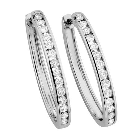 Hoop Earrings with 0.95 Carat TW of Diamonds in 10ct White Gold