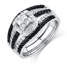 Online Exclusive - Bridal Set with 1 Carat TW of White & Enhanced Black Diamonds in 14ct White Gold